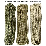 TOUGH-GRID 750lb Camo Tri-Pack Paracord/Parachute Cord - Genuine Mil Spec Type IV 750lb Paracord Used by The US Military (MIl-C-5040-H) - 100% Nylon - Made in The USA. 150Ft. - Camo Tri-Pack