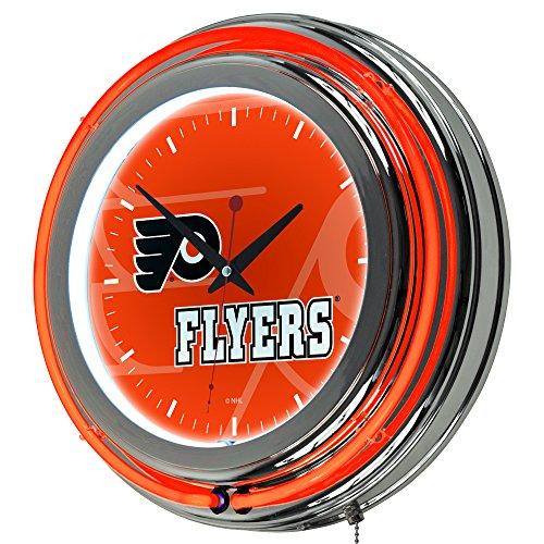 (Trademark Gameroom NHL1400-PF-WM NHL Chrome Double Rung Neon Clock - Watermark - Philadelphia)