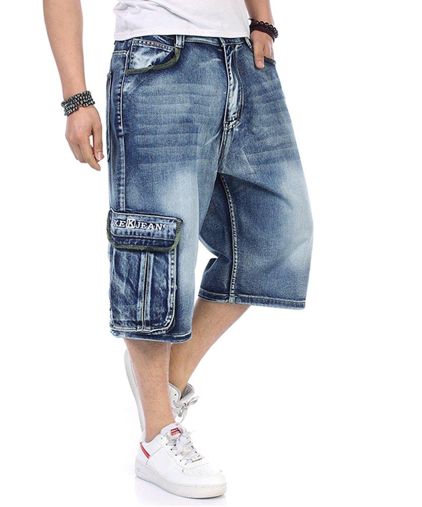 PY-BIGG Plus Size Men's Shorts Cargo Jeans Denim Shorts Casual Loose Style Big & Tall Waist Size W30-W46 (44, Blue L)