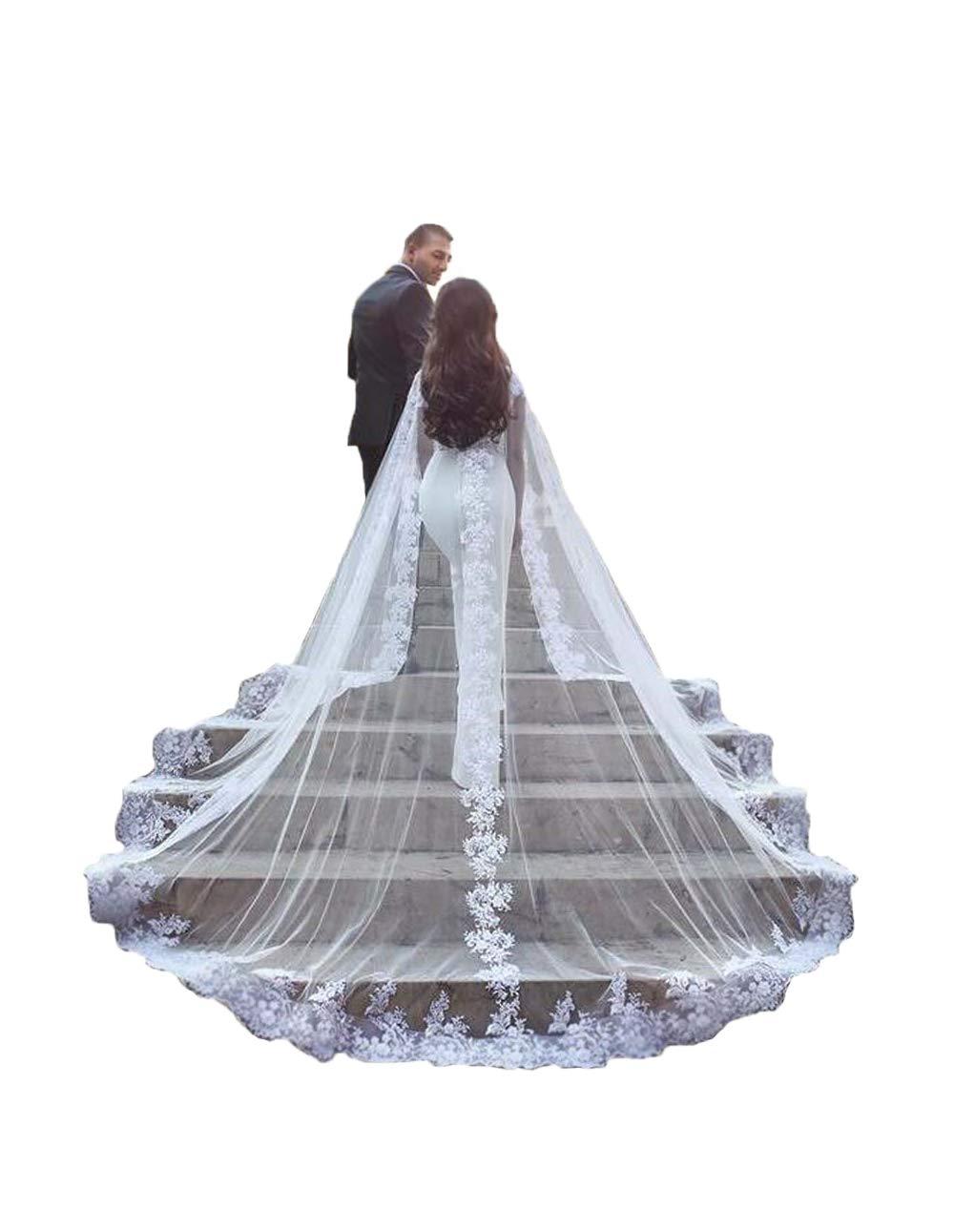 kelaixiang Women Veil Cape Tulle Lace Applique 3M 4M Wedding Capes Bridal Wraps Long Train Shawls Cloak by Kelaixiang