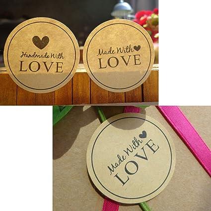 600pcs Hand Made Sticker Medal Shape Handmade Baking Gift Sealing Sticker