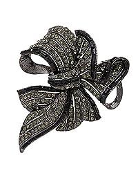eGlomart Black Rhinestone Bow Brooch Vintage Style Crystals Women Broach Pins