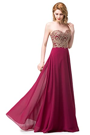 Amazon Misshow Womens Strapless Embroidery Beaded Prom Formal
