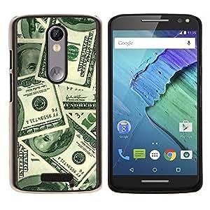 EJOOY---Cubierta de la caja de protección para la piel dura ** Motorola Moto X3 3rd Generation ** --Dinero Cien Dólares Riqueza Sichness