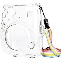 QUEEN3C - Funda protectora transparente con correa para el hombro, para cámara instantánea Fugifilm Instax Mini 11