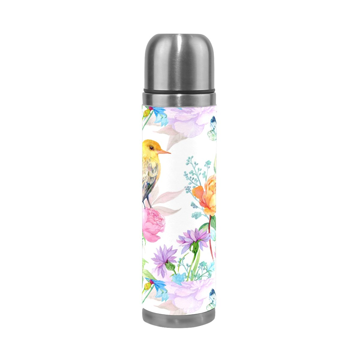 a4eba410c9 Amazon.com : My Little Nest Vacuum Insulated Water Bottle Floral Roses Bird  Butterfly Stainless Steel Travel Mug Thermos Flask 500ML : Sports & Outdoors