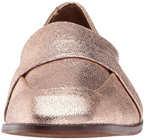 Kenneth Cole Reaktions Kvinnor Glidglidherrkläder Inspirerade Fyrkantig Tå Läder Slip-on Loafer Steg Guld
