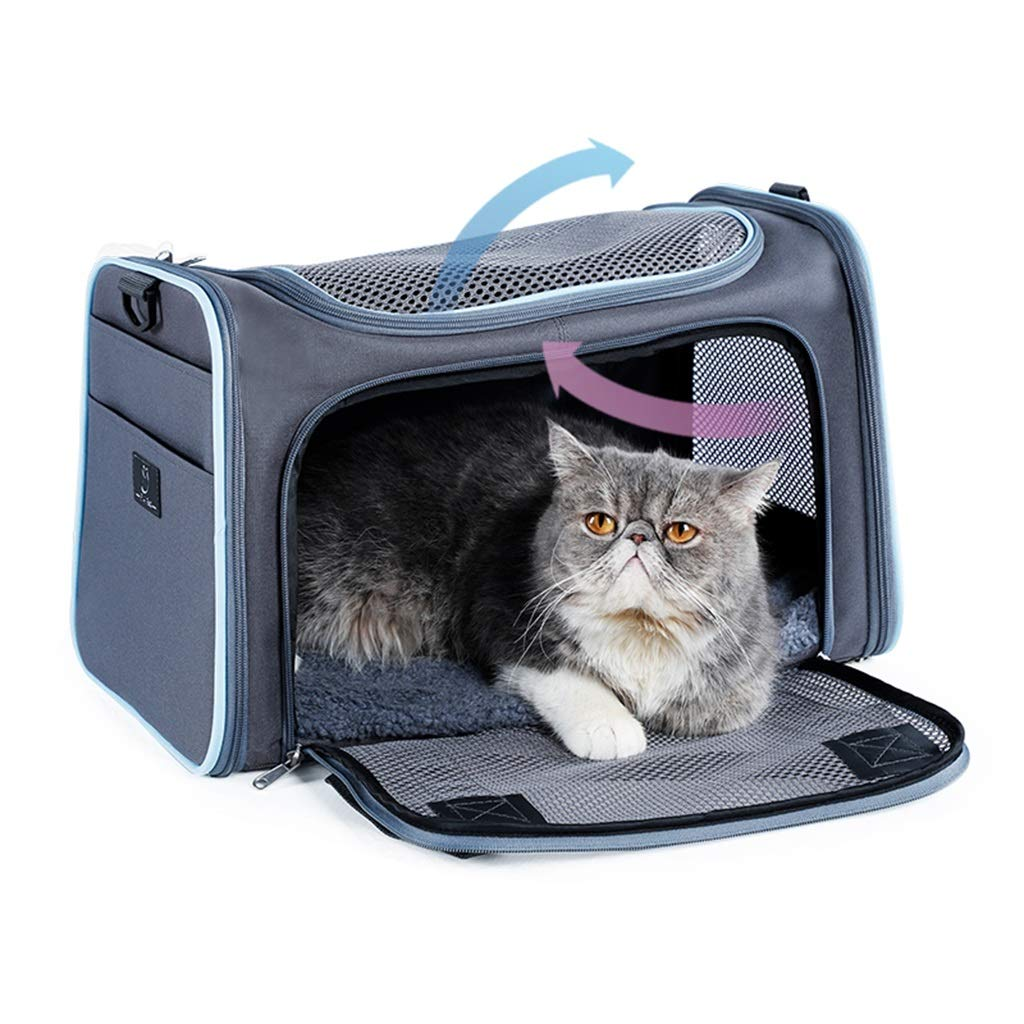 bluee 442828cm bluee 442828cm Cages, Crates & Carriers Portable Pet Cat Backpack Multi-Function Household Cat Cage Out-of-Way Dog Travel Bag Foldable Cat Box Load-Bearing 4 6 8KG (color   bluee, Size   44  28  28cm)