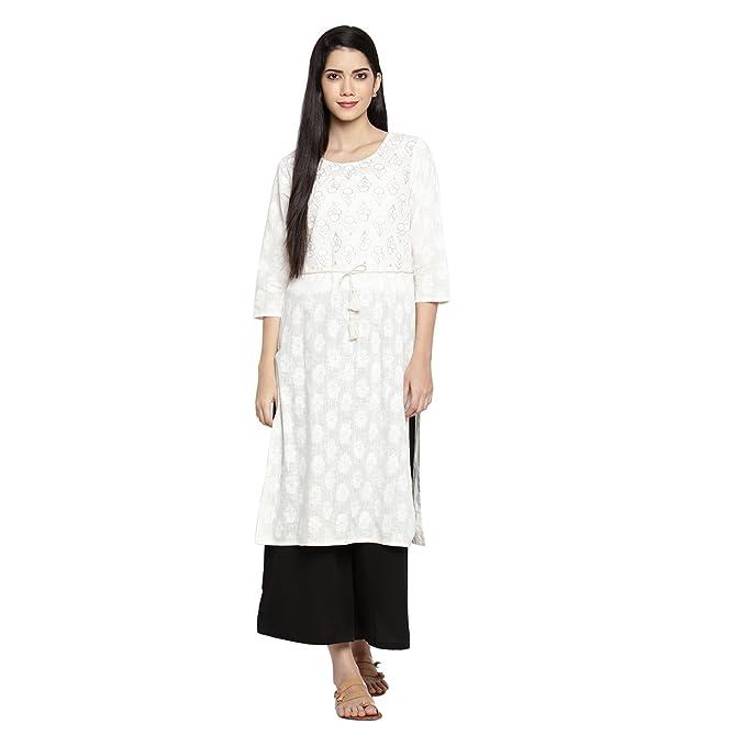 dabb560d0bd Rangmanch By Pantaloons Women s Straight Kurta (110030736005 Off White XXL)