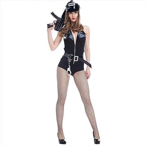 Sexy De Mujer Policía Disfraz Catsuit Halloween Cosplay Ropa Cuero ...