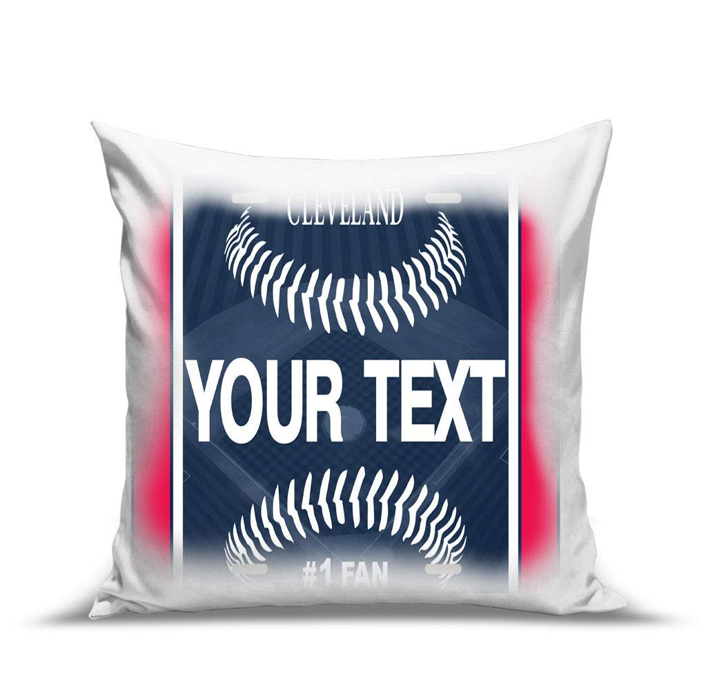 BRGiftShop Personalize Your Own Baseball Team Cleveland 15.75x15.75 Linen Pillow Case no insert