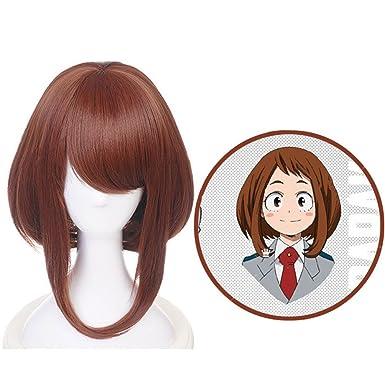 Raleighsee My Hero Academia Anime Cosplay Wig Ochaco Uraraka Brown High Temperature Silk Teenage Girl Wig Anime Fans Gift