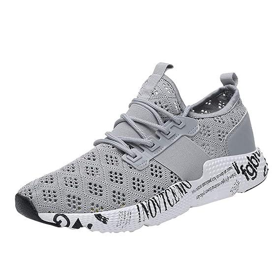 Zapatillas para Hombre,ZARLLE Zapatillas Deporte Hombre Zapatos para Correr Athletic Cordones Air Cushion 3cm Running Sports Sneakers Negro Blanco Gris ...