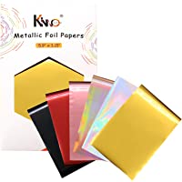 KINNO 60 Pieces Metallic Paper Foil Sheets- 6 Mixed Colors Hot Stamping Transfer Foil Paper Laminating on Printer Craft…