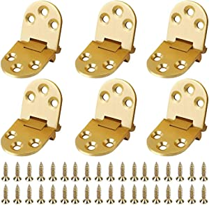 Brass Butler Tray Hinge, 6 Pack BESTZY 180 Degree Sewing Machine Table Flip Top Hinge, Round Edge Hinge for Butler Table/Folding Table/Furniture