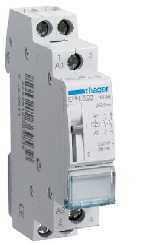 HAGER Tension de 230V Ref EPN520 T/él/érupteur Bipolaire 16A 2F