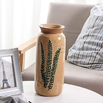 ZZUU Jarrón decorativo de cerámica con diseño de flores, hecho a mano, adornos modernos