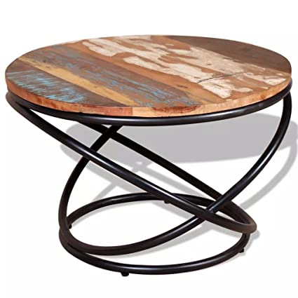 Handmade Solid Reclaimed Wood Round Coffee Side Accent Table, Living Room  Furniture