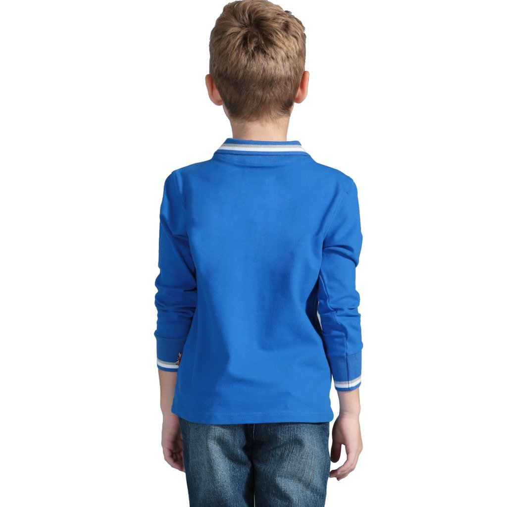 Leo&Lily Boys Long Sleeve Regular Fit Fine Pique Polo Shirts Blue 8 by Leo&Lily (Image #2)
