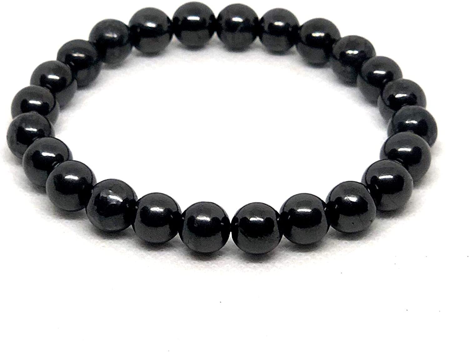 For handmade EMF Protection 5G protection,recovery Round polished natural shungite beads 8 mm.Shungite stone for needlework