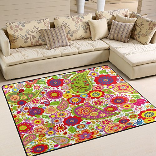 ALAZA Poppy Paisley Flower Ladybug Area Rug Rugs for Living Room Bedroom 5'3