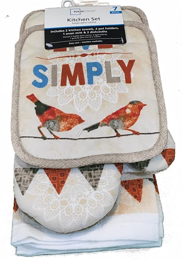 Amazon.com: Live Simply 7 Piece Kitchen Dish Towel Set 55: Home & Kitchen