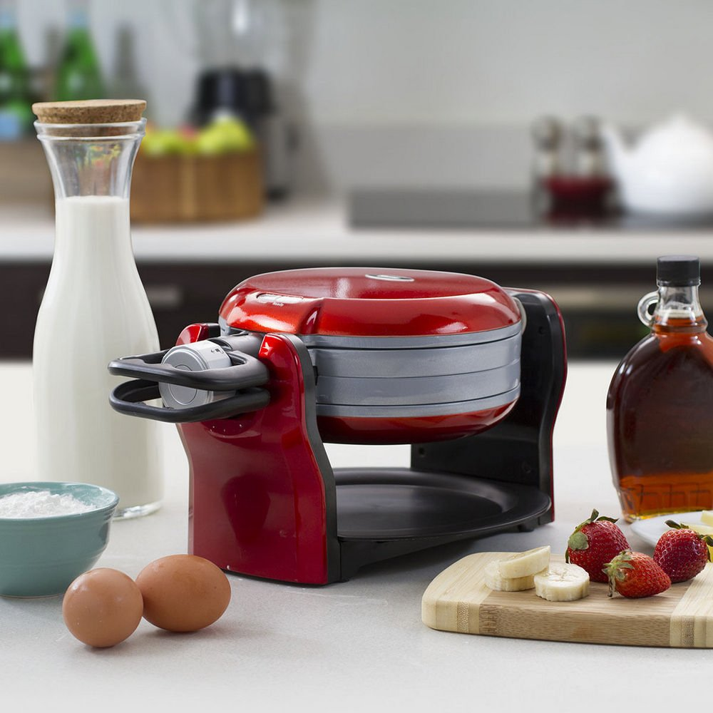 Oster DuraCeramic Titanium Infused Double Flip Waffle Maker, Red CKSTWF20R by Oster (Image #3)