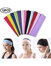 57989c3cc45 Qincling 12 PCS Yoga Cotton Headbands