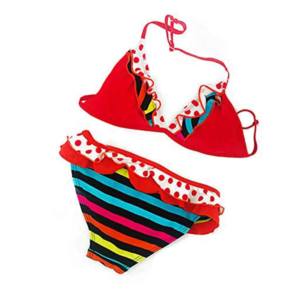 12 A/ños Amlaiworld IPBEN Conjuntos beb/é Ba/ñador beb/é Ba/ñadores de Verano para Ni/ñas Tassel Conjunto de Bikini Traje de Ba/ño de Nylon para Chicas 3 A/ños