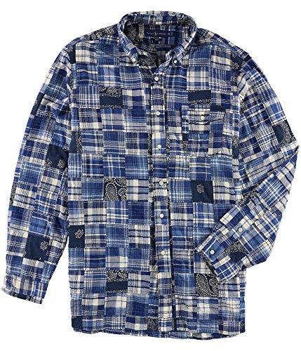 Polo Ralph Lauren Men's Standard Fit Patchwork Cotton Madras Long Sleeve Shirt, Indigo Navy Multi (Large)