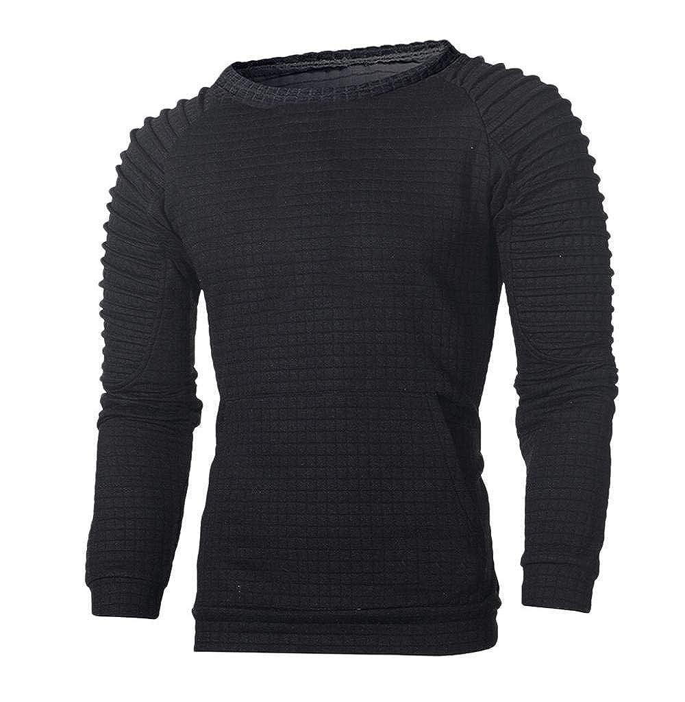 Tomatoa-Herren sweatshirt Pullover Rundhalsausschnitt Hoody T-Shirt Slim Fit Sweater Sport Fitness Training Langarmshirt Mä nner Strickpullover