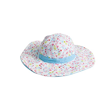 ACVIP Baby Girl Summer Cotton Floral Bowknot Breathable Sun Protection Wide Brim Hat