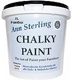 XL 3Kg. Ann Sterling Kreidefarbe Shabby Chic Farbe: Chalky White / Weiß 3Kg. Lack Chalky Paint
