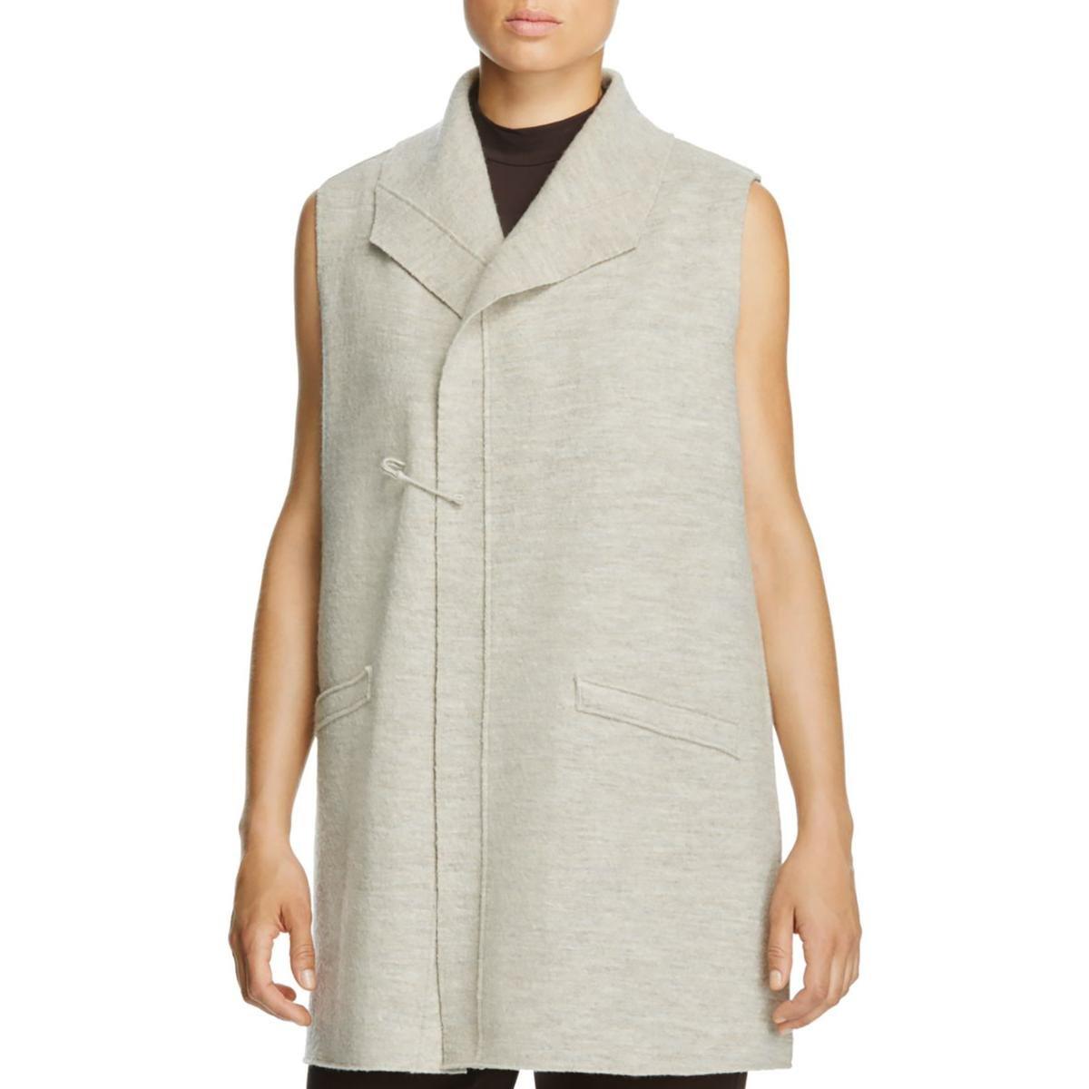 Eileen Fisher Womens Funnel Neck Sleeveless Sweater Vest Beige M