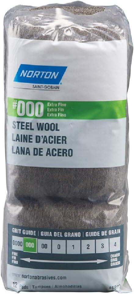 Norton 000 Grade Extra Fine Steel Wool Pad 12 pk