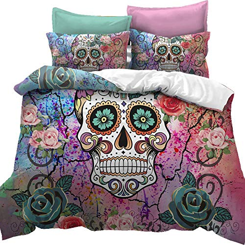 Feelyou Sugar Skull Duvet Cover Set Queen Size Skull Pattern Bedding Set Bones Roses Floral Print Gorgeous Luxury Micorfiber Polyester Comforter Cover Set Watercolor with 2 Pillow Shams, 3Pcs