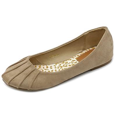 e60b4c4824a Ollio Womens Ballet Shoe Comfort Faux Suede Flat ZM1030(6 B(M) US