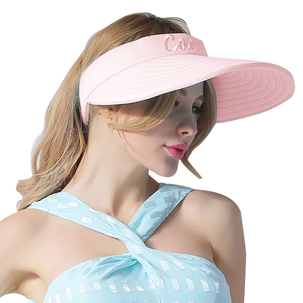 CACUSS Women's Summer Sun Hat Large Brim Visor Adjustable Magic Tape Packable UPF 50+(Pink) by CACUSS (Image #2)