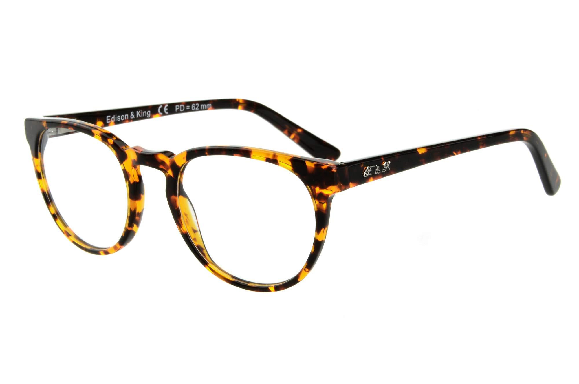 Edison & King Timeless reading glasses - retro look with premium lenses (+2.00 dpt, havana) by Edison & King