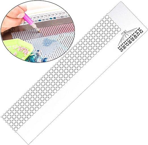 Imagen deXinlie Regla de Bordado de Diamante de Acero Diamond Painting Net Ruler Pintura de Diamante Regla Herramienta de Dibujo de Diamante Herramienta de Taladro de Punto de Regla Herramienta de Regla