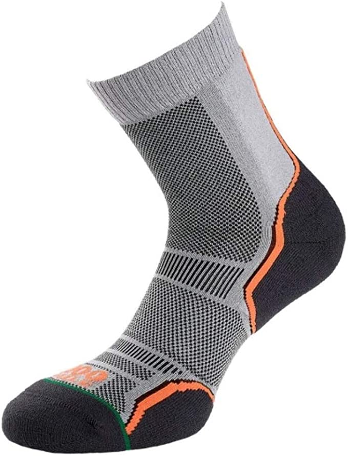 Grey//Orange 1000 Mile Women/'s Trail Twin Pack Running Socks 3-5.5 UK//Small