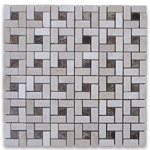 Crema Marfil Marble Target Pinwheel Mosaic Tile w/ Emperador Dark Dots Polished