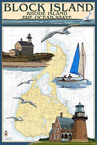 Block Island, Rhode Island - Nautical Chart (12x18 Art Print, Wall Decor Travel Poster) Rhode Island Block Island