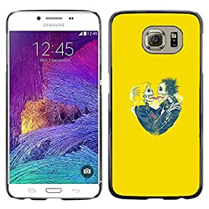 Be Good Phone Accessory // Dura Cáscara cubierta Protectora Caso Carcasa Funda de Protección para Samsung Galaxy S6 SM-G920 // Yellow Hearts Couple Skull Skeleton