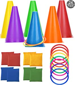 OOTSR [24 Pack] Conehole Bean Bags Ring Toss Game Set - Carnival Combo Set Birthday Party Outdoor Games Supplies Plastic Cone Set for Family Garden Game
