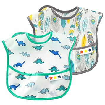 Happy Cherry Unisex Baby Waterproof Bibs Set with Long Sleeves Washable Stain and Odor Resistant Bib