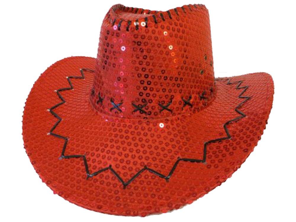 Red Sequin Western w/Stitching & Tie-down