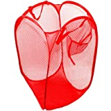 Youzone Household Essentials Toy Storage Basket Pop-Up Mesh Hamper Household Dirty Clothes Laundry Folding Mesh Bag Basket Holder(Red)