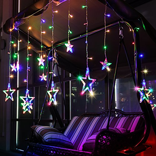 Stars 12 Light (Star Curtain Lights, LEORX 12 Stars 138 LEDs Window Curtain Lights Waterproof for New Year Wedding Party Home Bedroom Garden Patio (Multicolor))