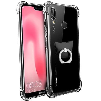 Huawei P20 Lite Funda, FoneExpert® Transparente Clear Carcasa Cover Case Funda de gel TPU silicona con anillo de apoyo de rotación de 360 ° Para ...